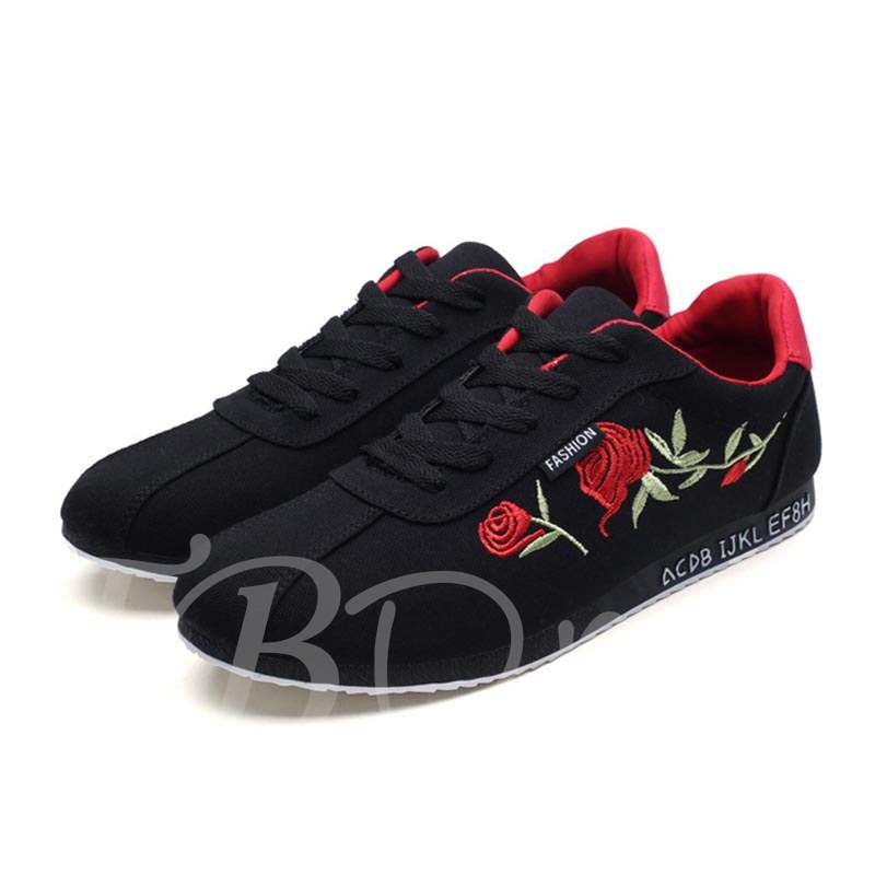 Lace-Up Floral Embroidery Chic Canvas Men's Sneakers
