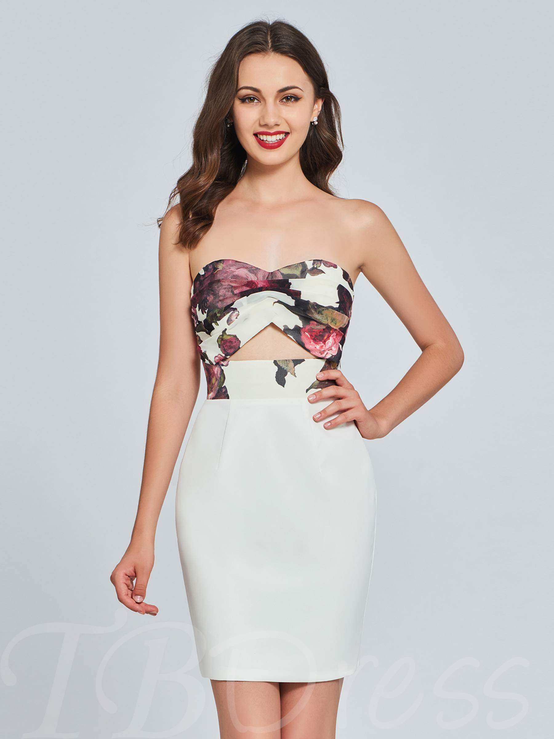 Buy Sheath Sweetheart Printed Mini Homecoming Dress, Spring,Summer,Fall,Winter, 13384073 for $108.99 in TBDress store