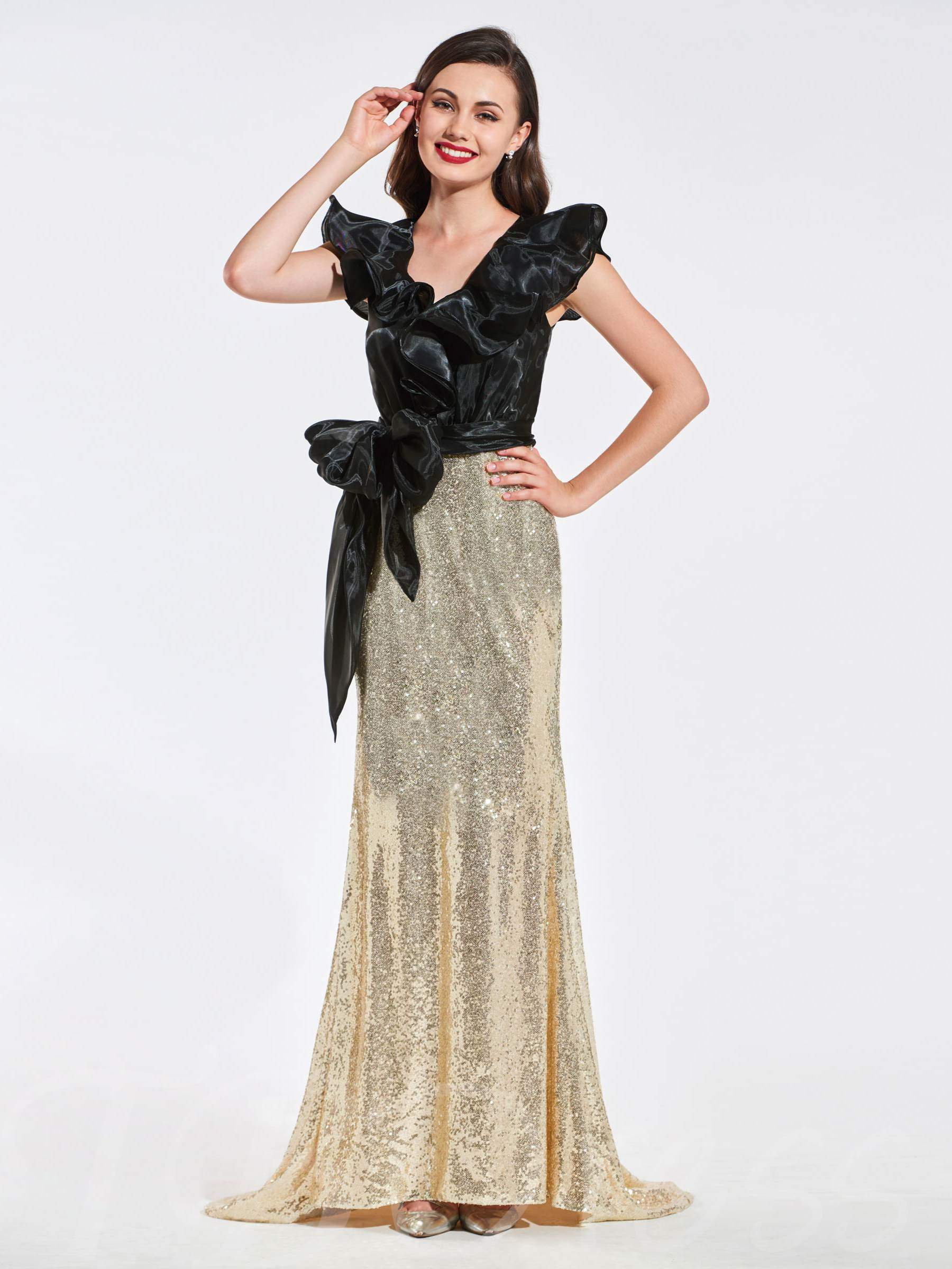 Buy V-Neck Trumpet Bowknot Sequins Evening Dress, Spring,Summer,Fall,Winter, 13384081 for $145.99 in TBDress store