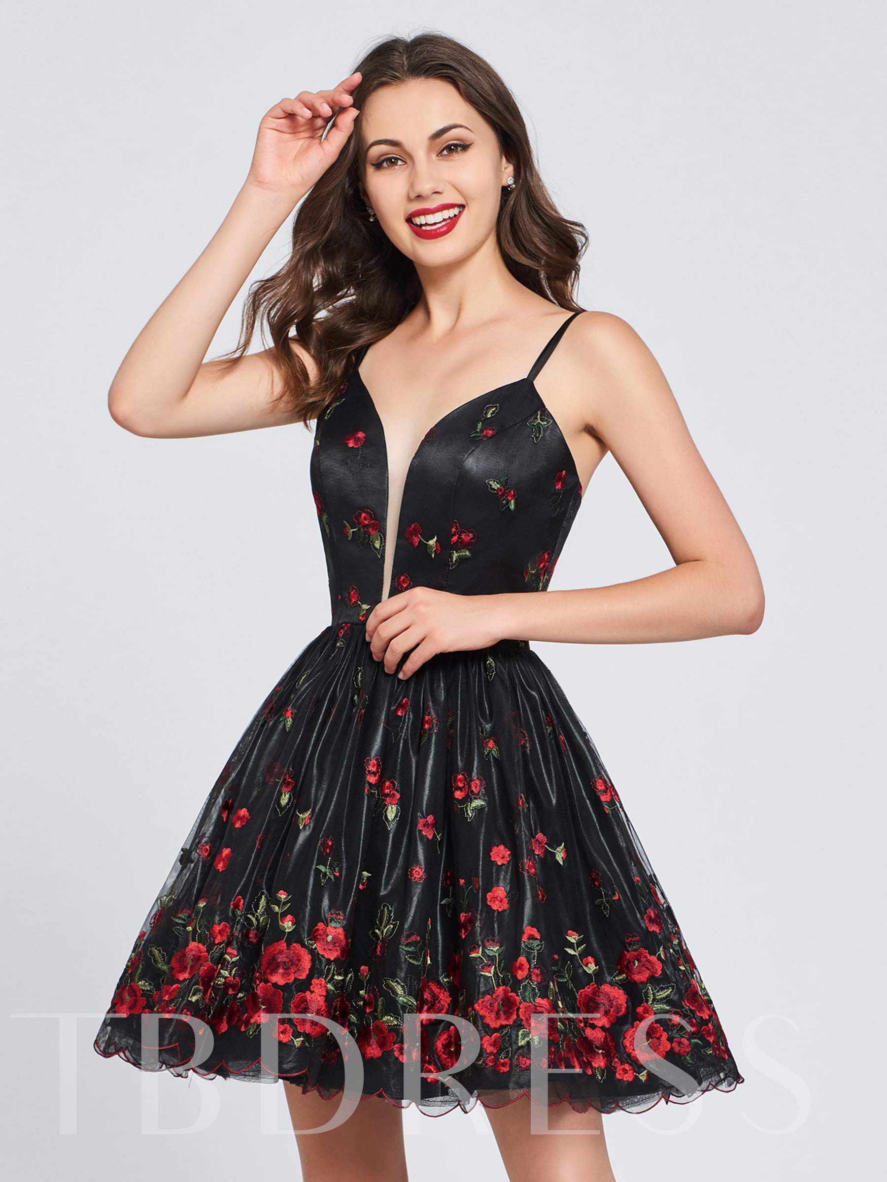 Buy A-Line Lace Sequins Spaghetti Straps Homecoming Dress, Spring,Summer,Fall,Winter, 13384071 for $136.99 in TBDress store
