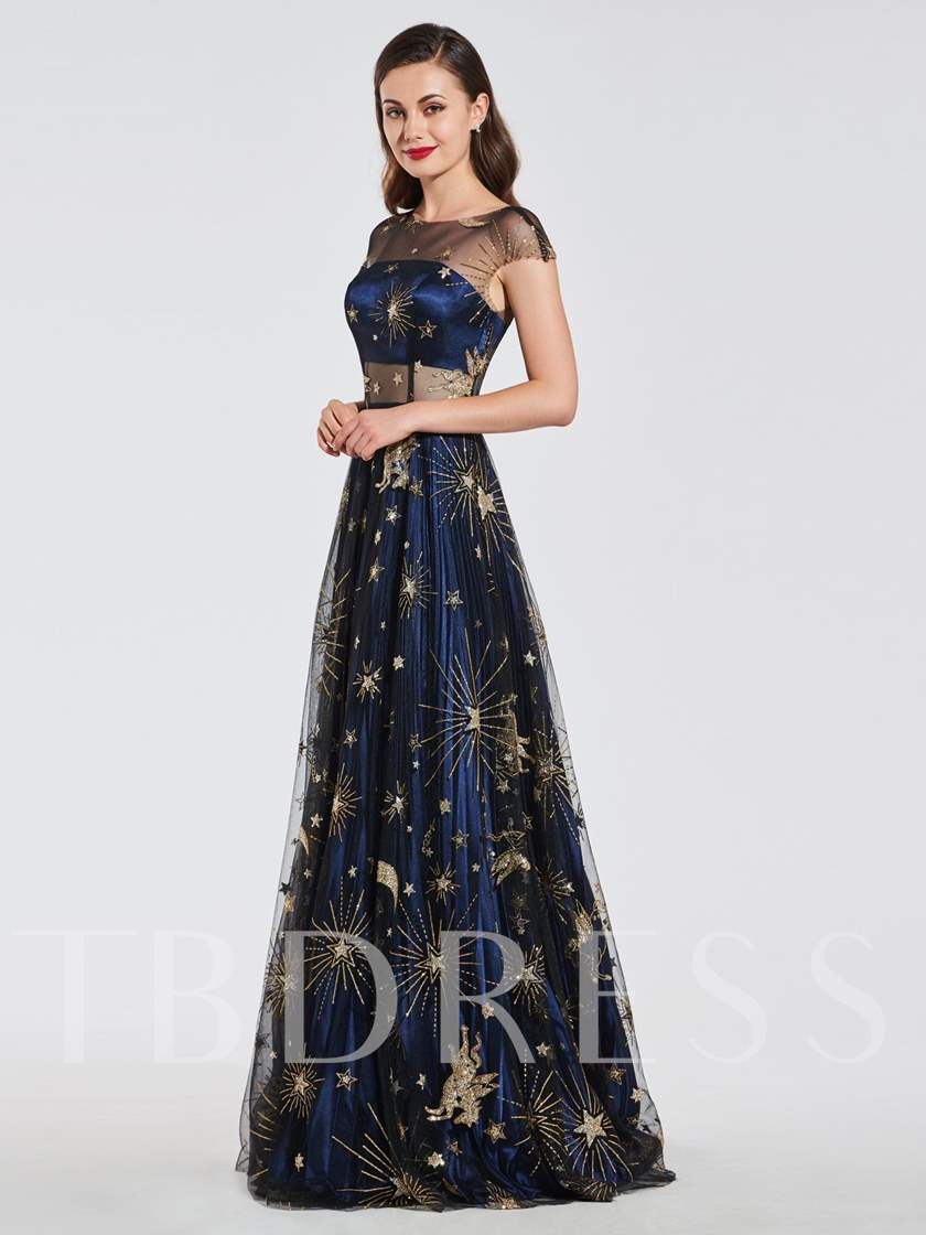 A-Line Pleats Scoop Lace Evening Dress 2019