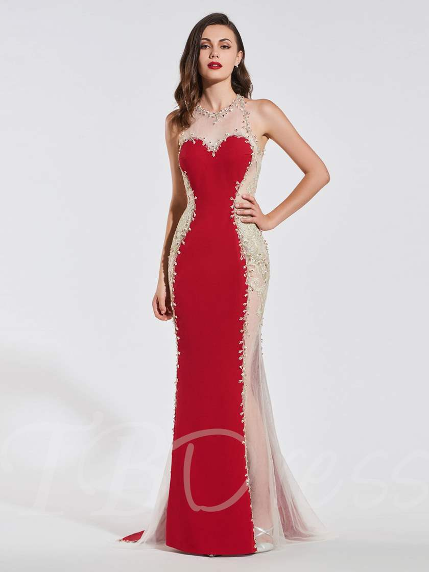 Mermaid Beading Lace Scoop Backless Evening Dress - Tbdress.com
