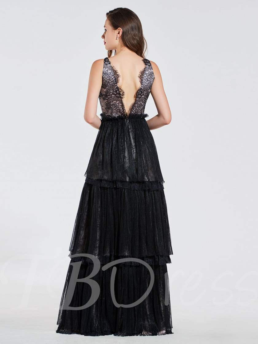 A-Line Empire Lace V-Neck Long Evening Dress 2019