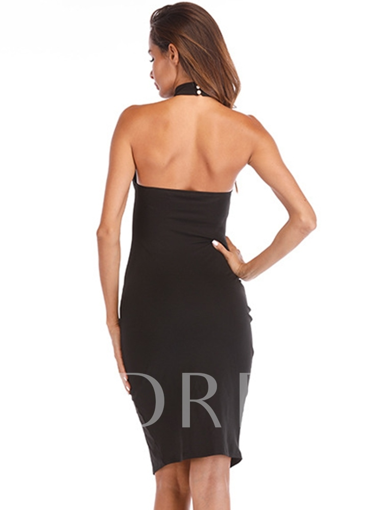 Split Halter Backless Women's Sexy Dress