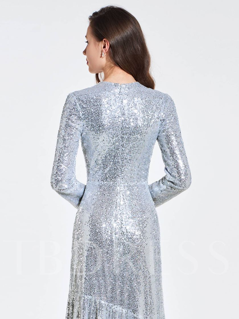 Sheath Sequins Scoop Long Sleeves Evening Dress