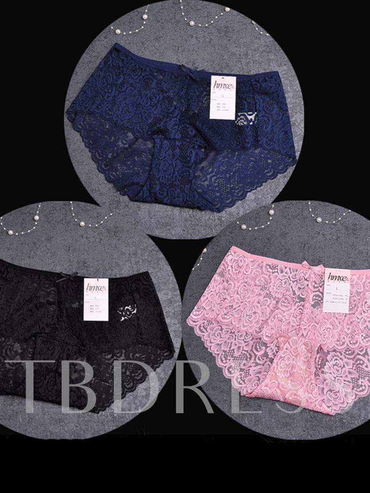 Lace Hollow Bowknot Panty 3 Pieces for Women