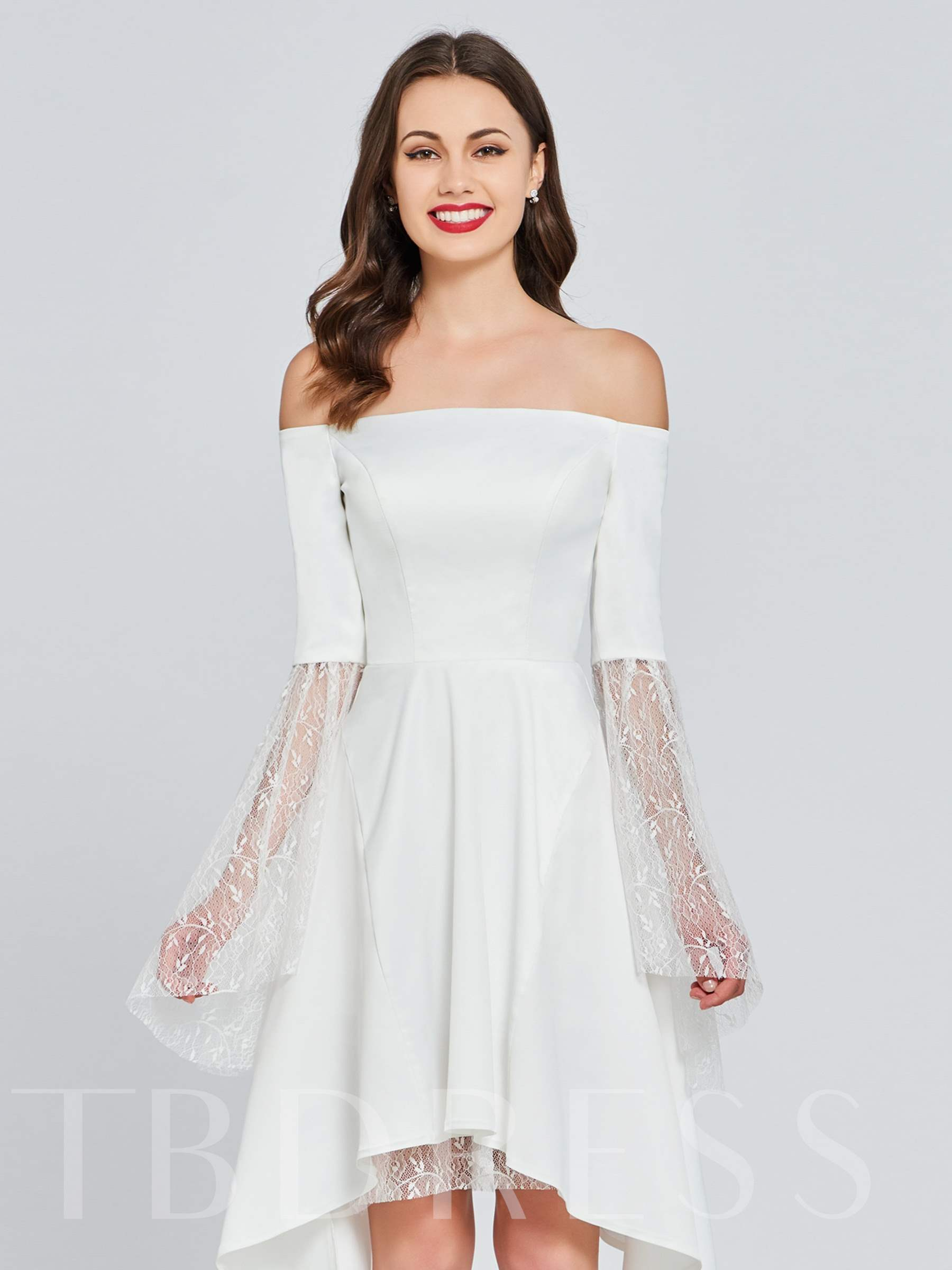 Buy Off-the-Shoulder Lace A-Line Homecoming Dress, Spring,Summer,Fall,Winter, 13384074 for $117.99 in TBDress store
