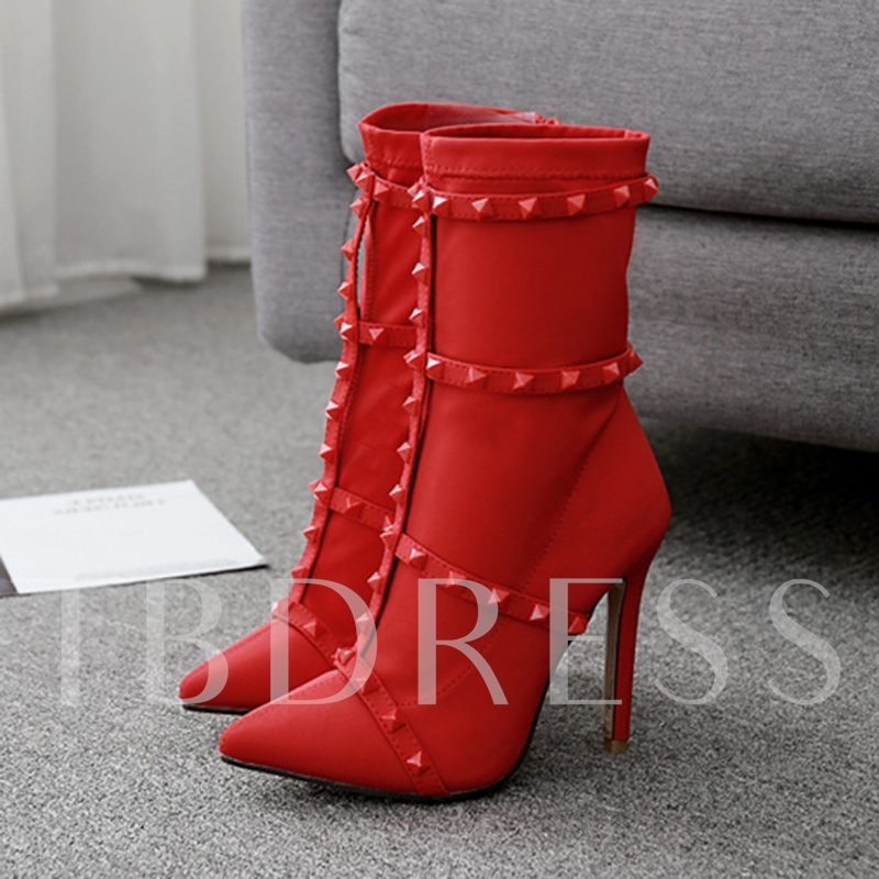 Stiletto Heel Pointed Toe Rivet Sexy Women's Ankle Boots