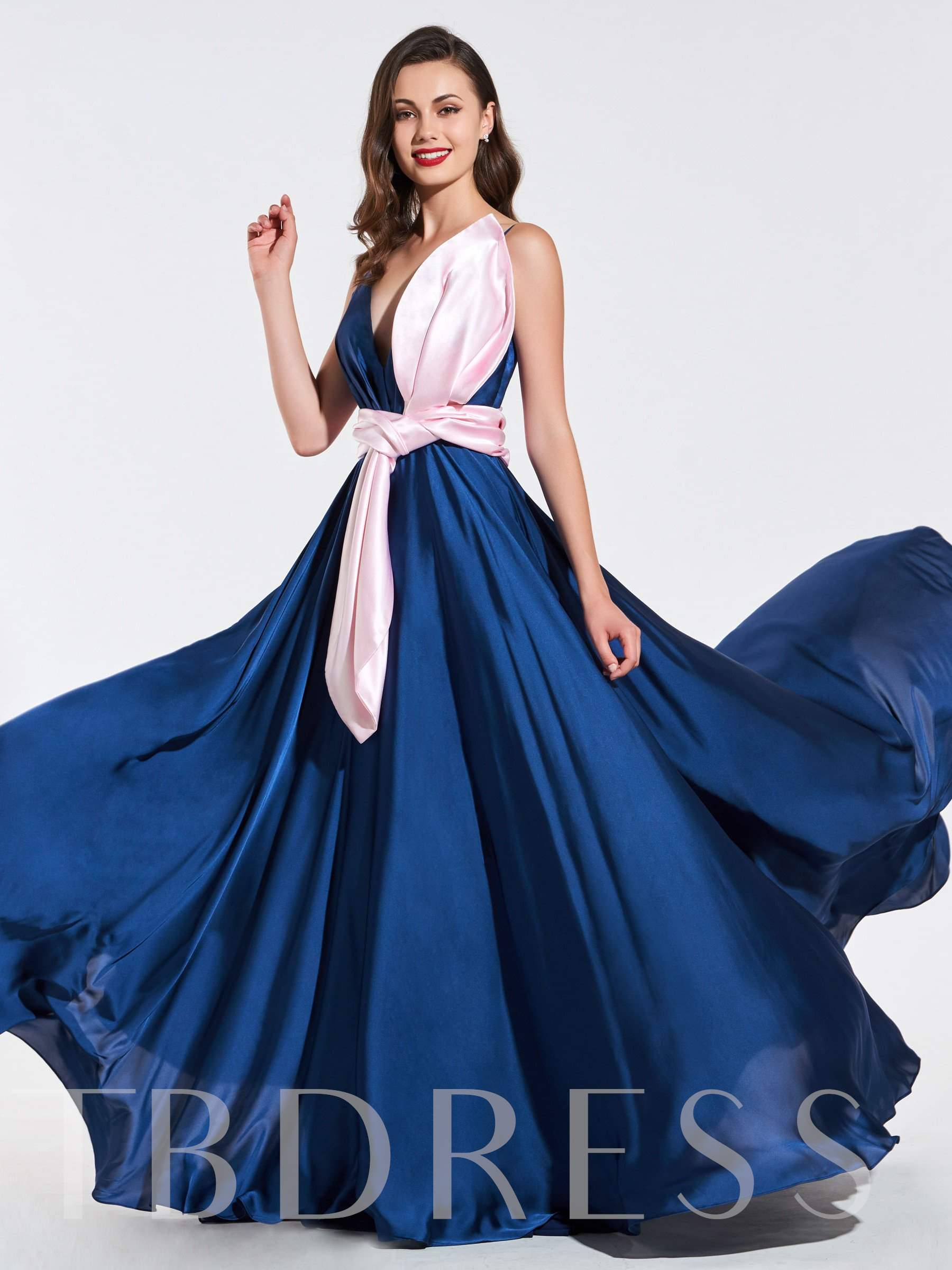 Buy A-Line Ruched V-Neck Bowknot Evening Dress, Spring,Summer,Fall,Winter, 13384082 for $142.99 in TBDress store