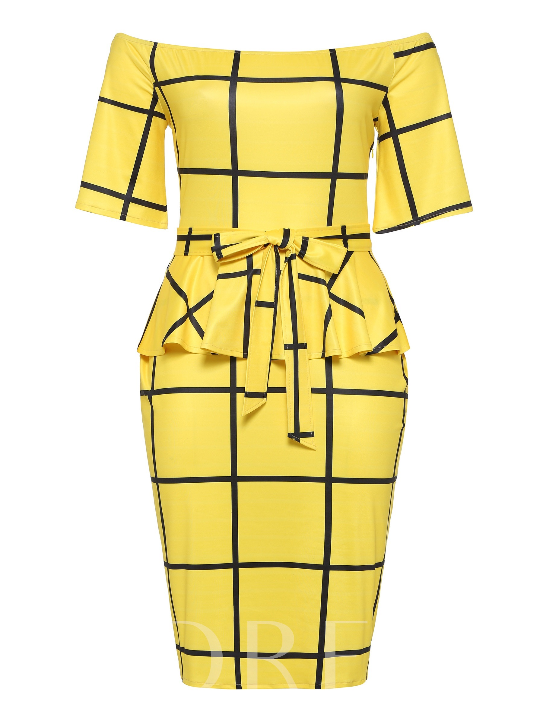Buy Plus Size Yellow Belt Prints Elegant Bodycon Dress, Plusee, 13385260 for $14.09 in TBDress store