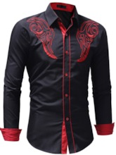 Lapel Geometric Prints Slim Men's Shirt