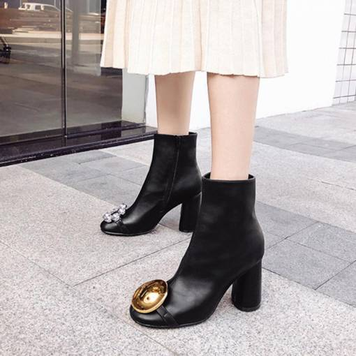 Round Toe Side Zipper Chunky Heel Rhinestone Women's Ankle Boots