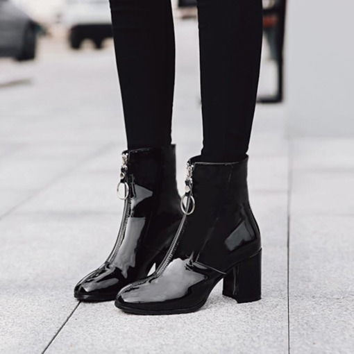 Chunky Heel Front Zipper Square Toe Trendy Women's Ankle Boots