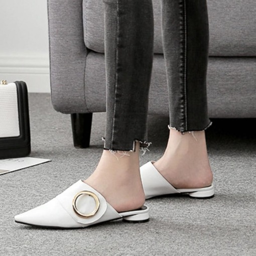 Closed Toe Block Heel Slip-On Trendy Women's Flat Mules