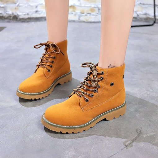 Round Toe Lace-Up Front Block Heel Martin Boots for Women