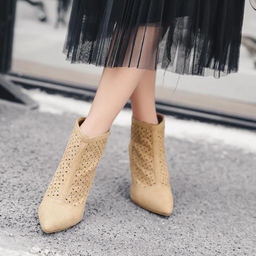 Suede Pointed Toe Stiletto Heel Hollow Back Zip Women's Ankle Boots