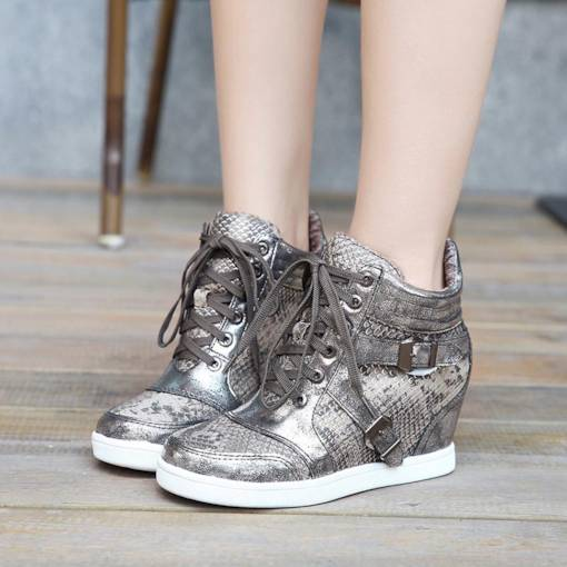 Round Toe Lace-Up Platform Elevated Silver Women's Sneaker