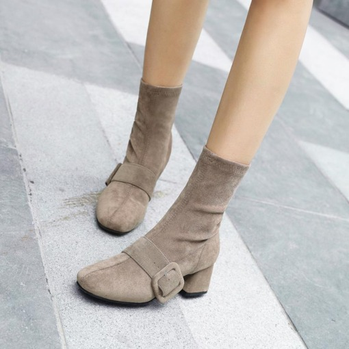 Slip-On Chunky Heel Buckle Suede Casual Women's Ankle Boots