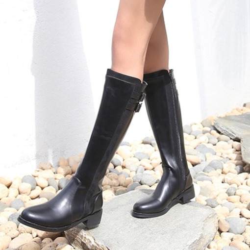 Round Toe Block Heel Side Zipper Buckle Women's Knee High Boots