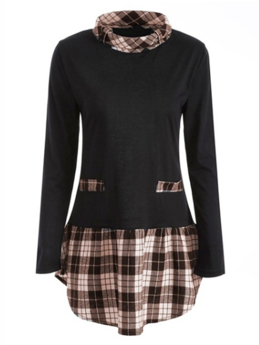 High Neck Double-Layered Plaid Mid Length Women's Blouse