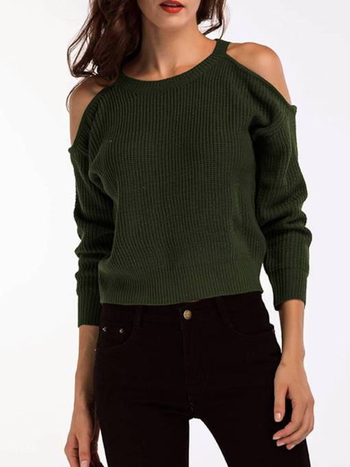 Elegant Cold Shoulder Solid Color Women's Sweater