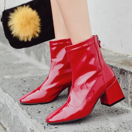 Square Toe Back Zip Chunky Heel Fashion Women's Ankle Boots