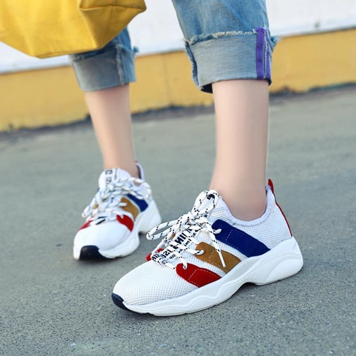 Mesh Lace-Up Patchwork Color Block Stylish Women's Sneaker