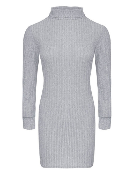 Turtle Neck Pullover Women's Sweater Dress