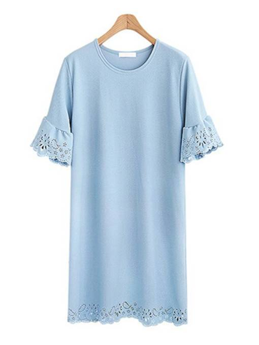 Solid Color Lace Patchwork Women's Day Dress