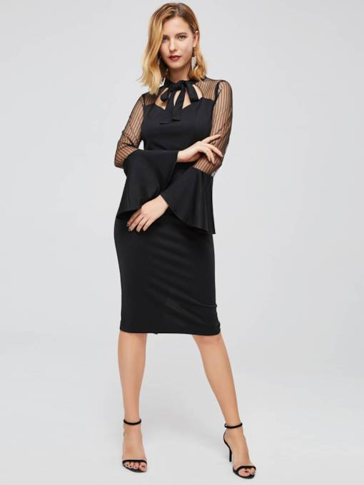 Bow Neck Flare Sleeve Sheath Dress