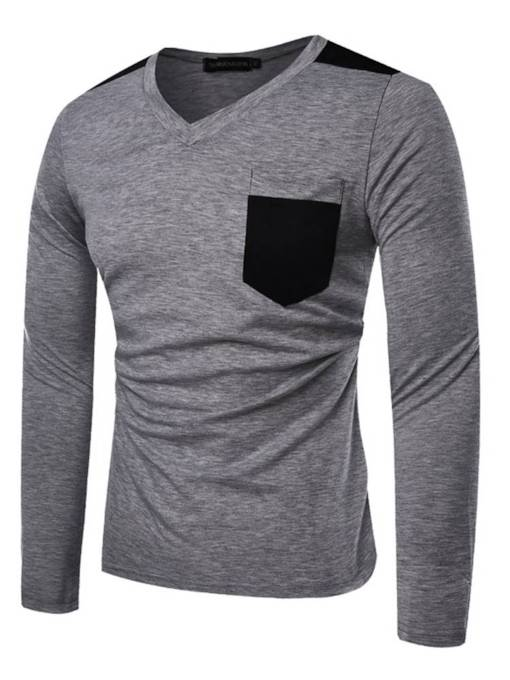 V-Neck Color Block Patchwork Slim Men's T-Shirt