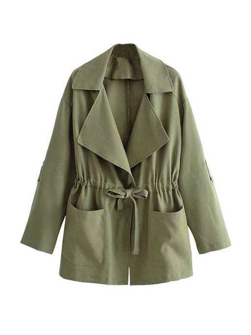 Olive Green Drawstring Pleated Lapel Women's Trench Coat