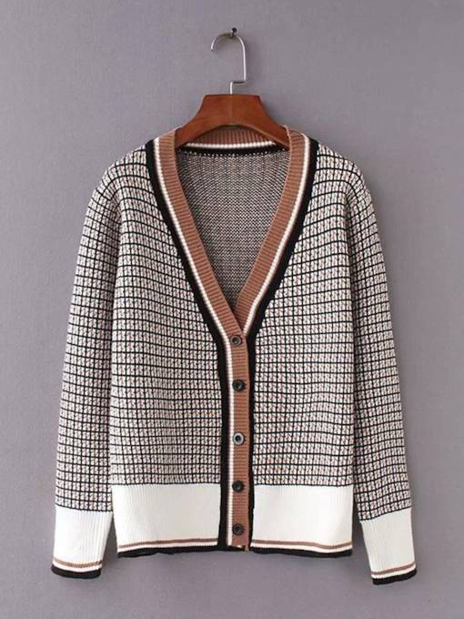 Vintage Plaid Single-Breasted Women's Sweater Coat