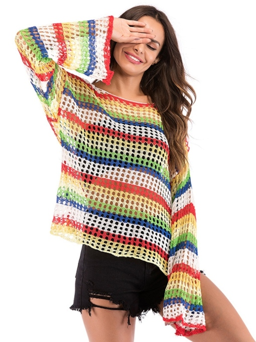 Sheer Color Block Stripe Bell Sleeve Women's Knitted Blouse