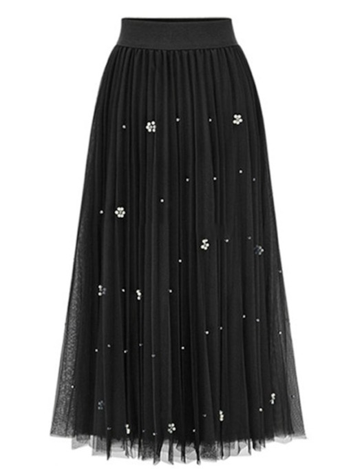 Mid Calf Bead Women's Pleated Skirt