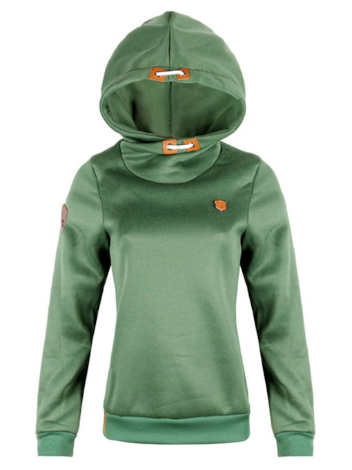 High Neck Pure Color Long Sleeve Women's Hoodie