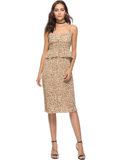 Strappy Floral Printed Women's Sexy Dress