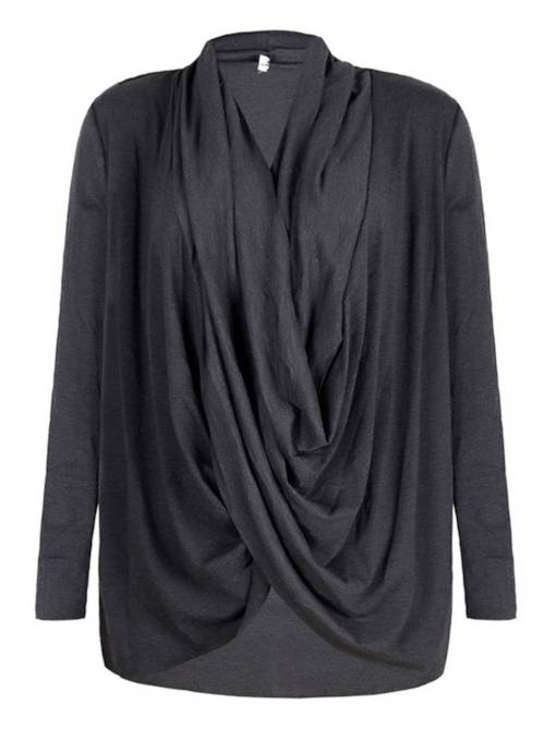 Ruched Heap Collar Solid Color Women's T-Shirt