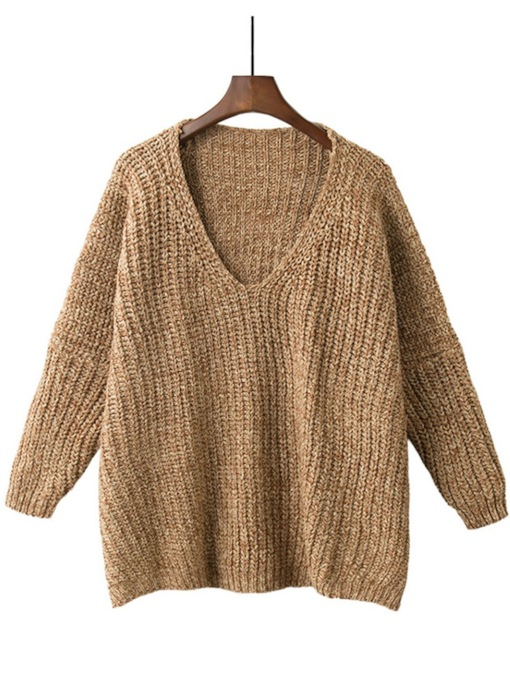 V-Neck Pullover Loose Fit Women's Sweater