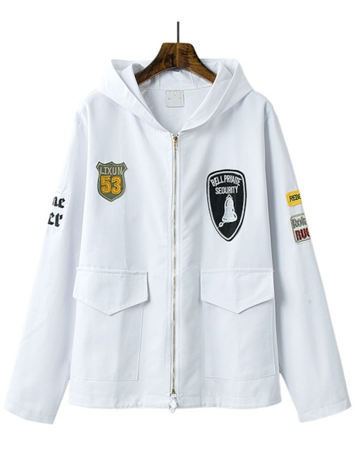 Patches Double-Pocket Zipper Up Women's Trench Coat