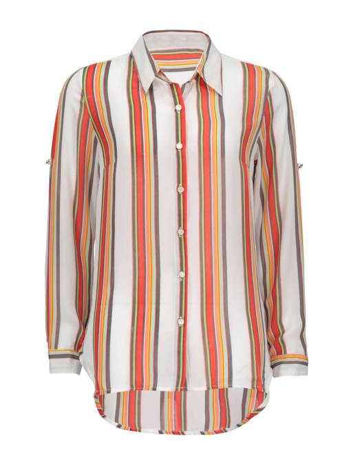 Vertical Stripe Single-Breasted Women's Shirt