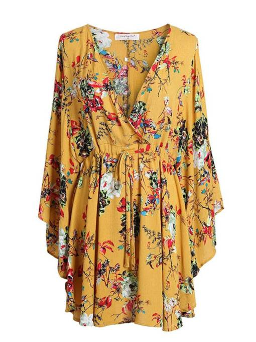 Yellow Floral Lace up Women's Day Dress