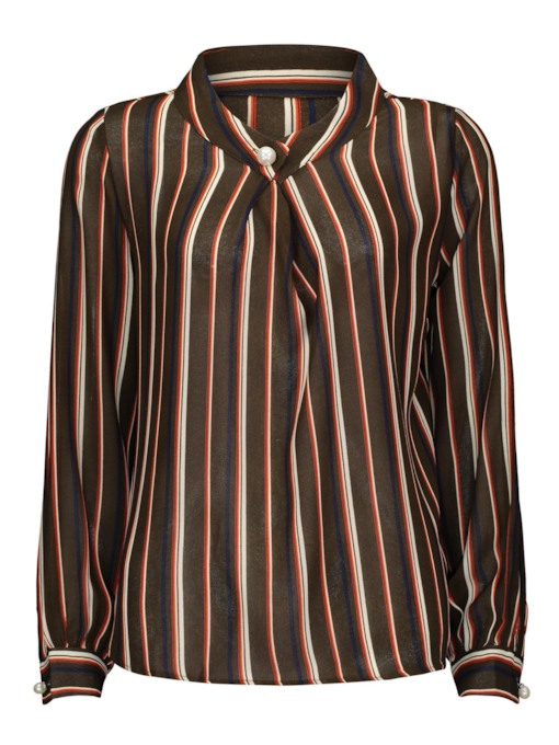 Pleated One Button Vertical Stripe Women's Shirt