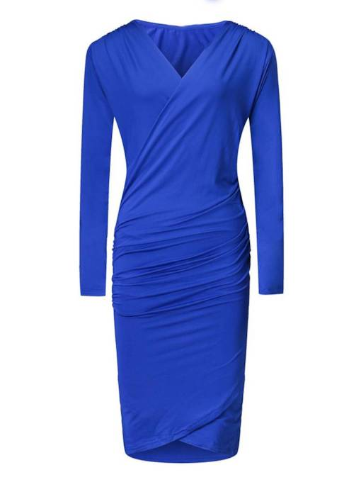Long Sleeve Plain Women's Sheath Dress