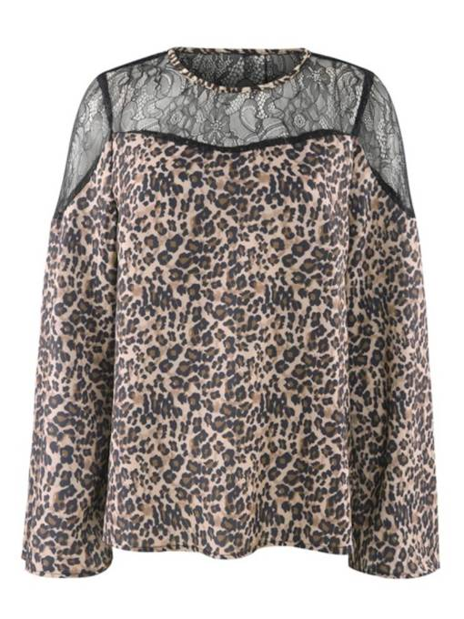 sexy leopard mesh patchwork plus size camiseta de mujer
