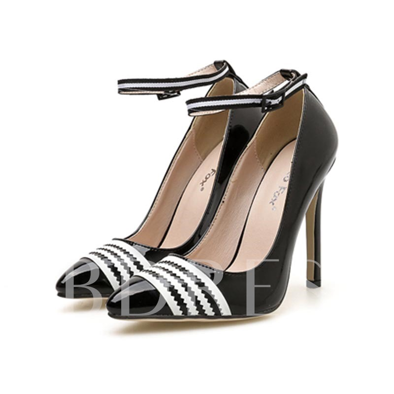 Buy Pointed Toe Stiletto Heel Line-Style Buckle Stripe Women's Pumps, Spring,Summer,Fall, 13385961 for $39.26 in TBDress store