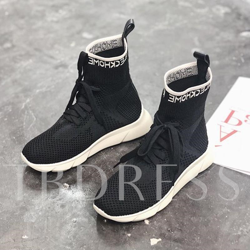 Buy Mesh Round Toe Lace-Up High Top Stylish Women's Sneaker, Spring,Fall, 13385866 for $36.57 in TBDress store