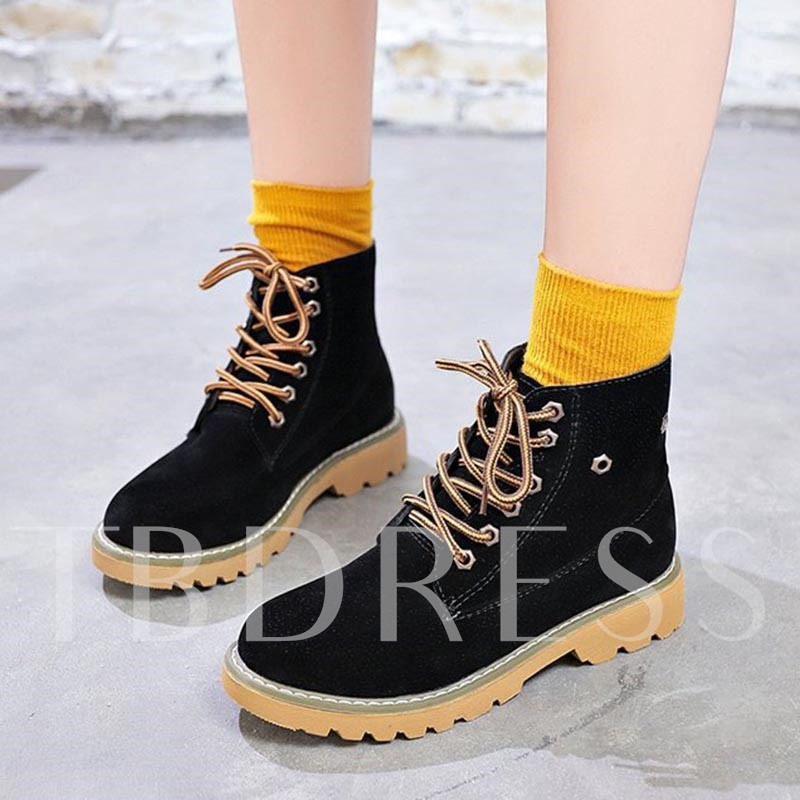 Buy Round Toe Lace-Up Front Block Heel Martin Boots for Women, Spring,Fall,Winter, 13385903 for $36.46 in TBDress store