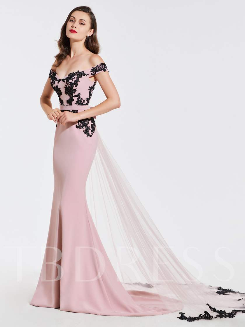 Mermaid Off-the-Shoulder Appliques Sashes Evening Dress 2019
