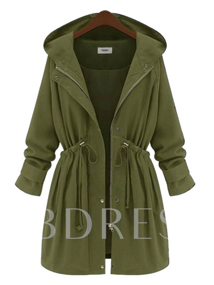 Olive Green Tight Wasit Mid Length Women's Trench Coat